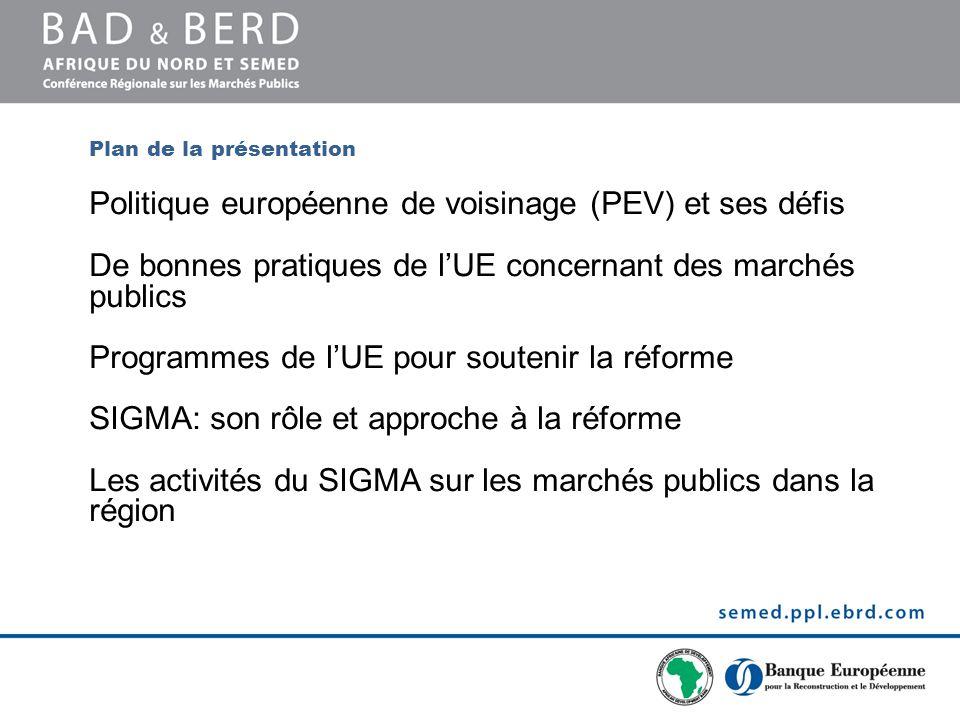 Plan de la présentation Politique européenne de voisinage (PEV) et ses défis De bonnes pratiques de lUE concernant des marchés publics Programmes de l
