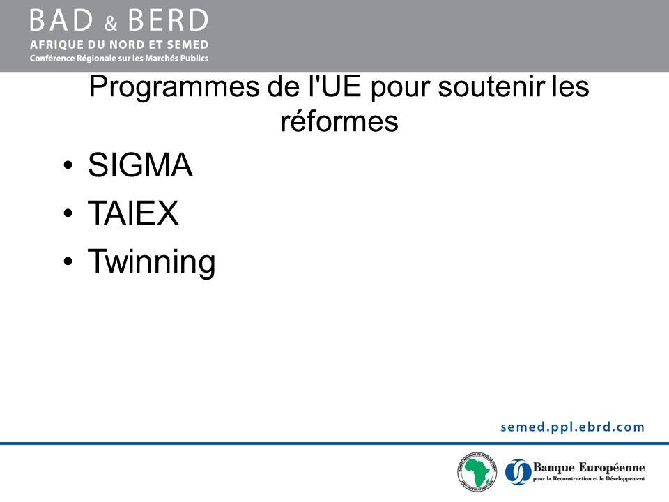 Programmes de l'UE pour soutenir les réformes SIGMA TAIEX Twinning