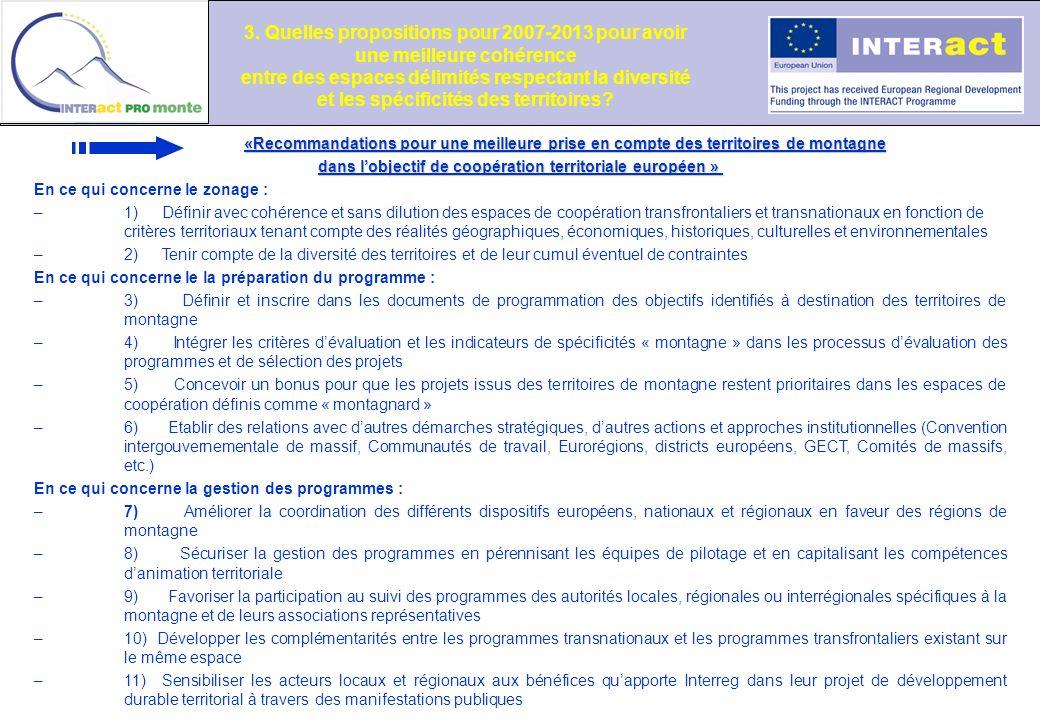 «Recommandations pour une meilleure prise en compte des territoires de montagne dans lobjectif de coopération territoriale européen » dans lobjectif d