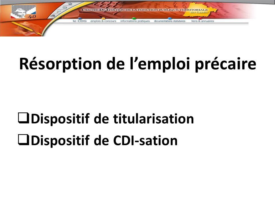 résorption de lemploi précaire Résorption de lemploi précaire Dispositif de titularisation Dispositif de CDI-sation