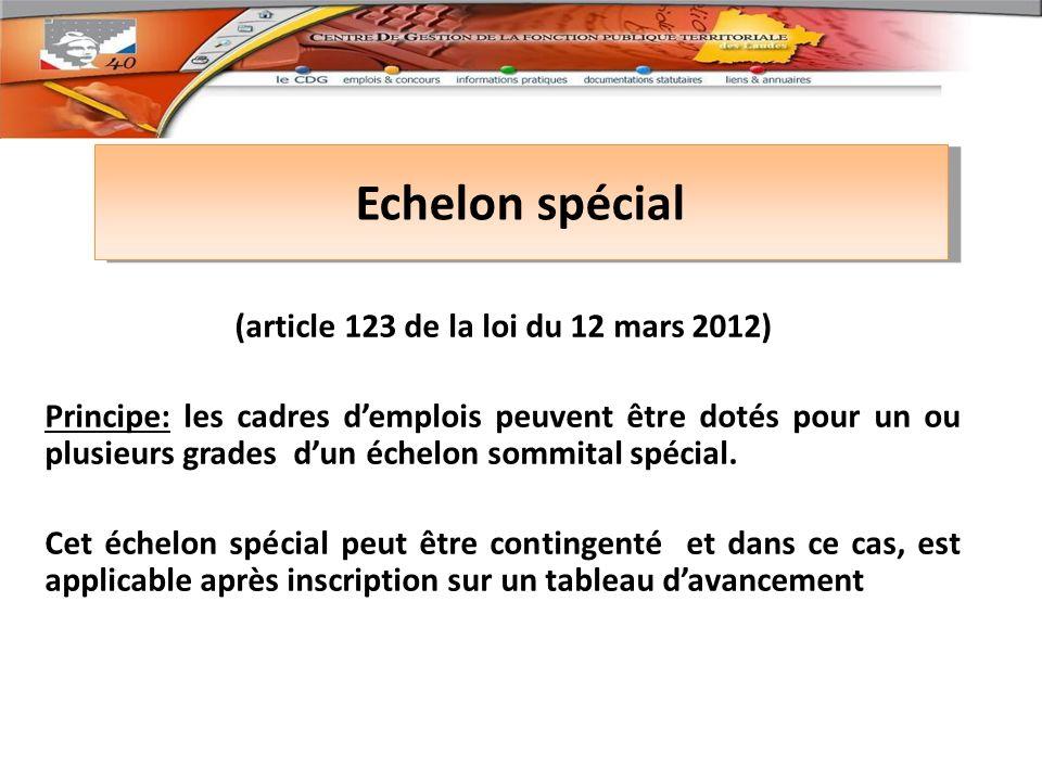 Echelon spécial (article 123 de la loi du 12 mars 2012) Principe: les cadres demplois peuvent être dotés pour un ou plusieurs grades dun échelon sommital spécial.