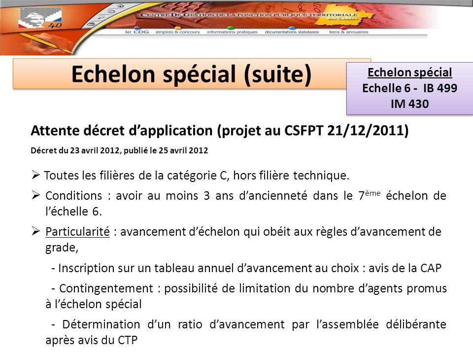 Echelon spécial (suite) Attente décret dapplication (projet au CSFPT 21/12/2011) Décret du 23 avril 2012, publié le 25 avril 2012 Toutes les filières de la catégorie C, hors filière technique.