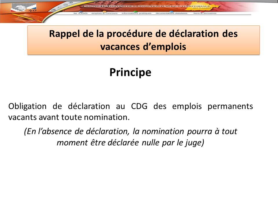 Principe Obligation de déclaration au CDG des emplois permanents vacants avant toute nomination.