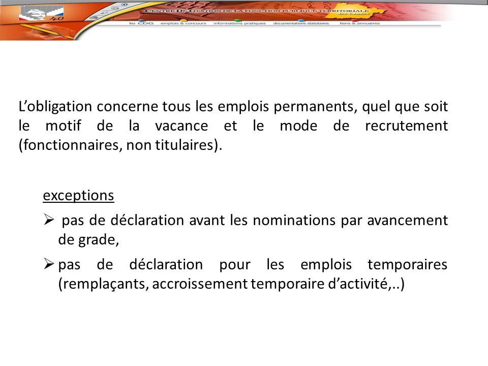 Lobligation concerne tous les emplois permanents, quel que soit le motif de la vacance et le mode de recrutement (fonctionnaires, non titulaires).