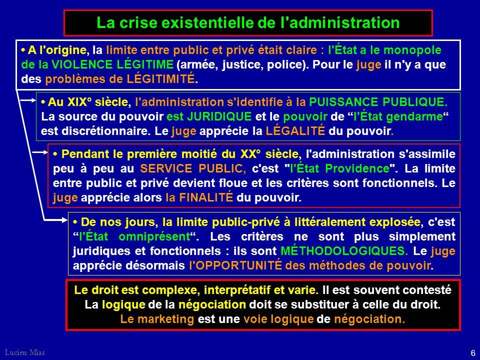6 Lucien Mias La crise existentielle de l administration Le droit est complexe, interprétatif et varie.