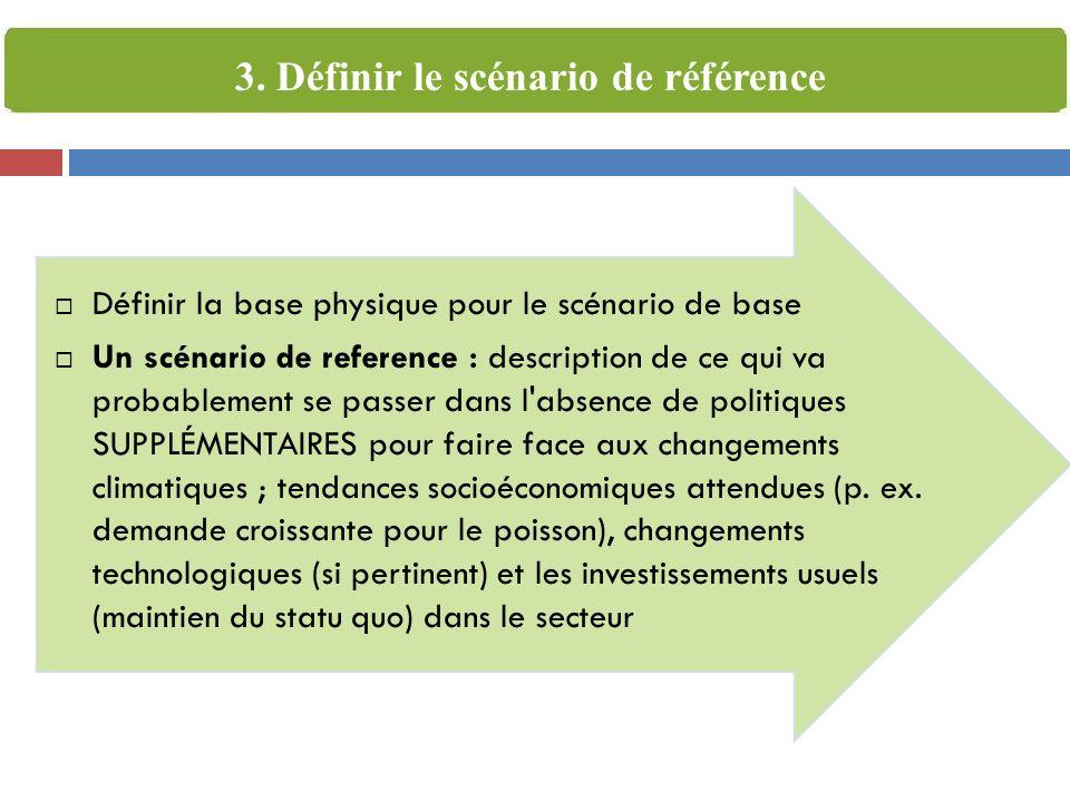 Définir la base physique pour le scénario de base Un scénario de reference : description de ce qui va probablement se passer dans l absence de politiques SUPPLÉMENTAIRES pour faire face aux changements climatiques ; tendances socioéconomiques attendues (p.
