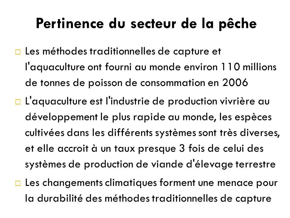 Pertinence du secteur de la pêche Les méthodes traditionnelles de capture et l aquaculture ont fourni au monde environ 110 millions de tonnes de poisson de consommation en 2006 L aquaculture est l industrie de production vivrière au développement le plus rapide au monde, les espèces cultivées dans les différents systèmes sont très diverses, et elle accroit à un taux presque 3 fois de celui des systèmes de production de viande d élevage terrestre Les changements climatiques forment une menace pour la durabilité des méthodes traditionnelles de capture