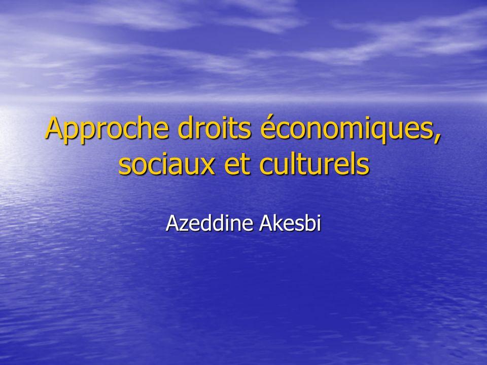 Approche droits économiques, sociaux et culturels Azeddine Akesbi