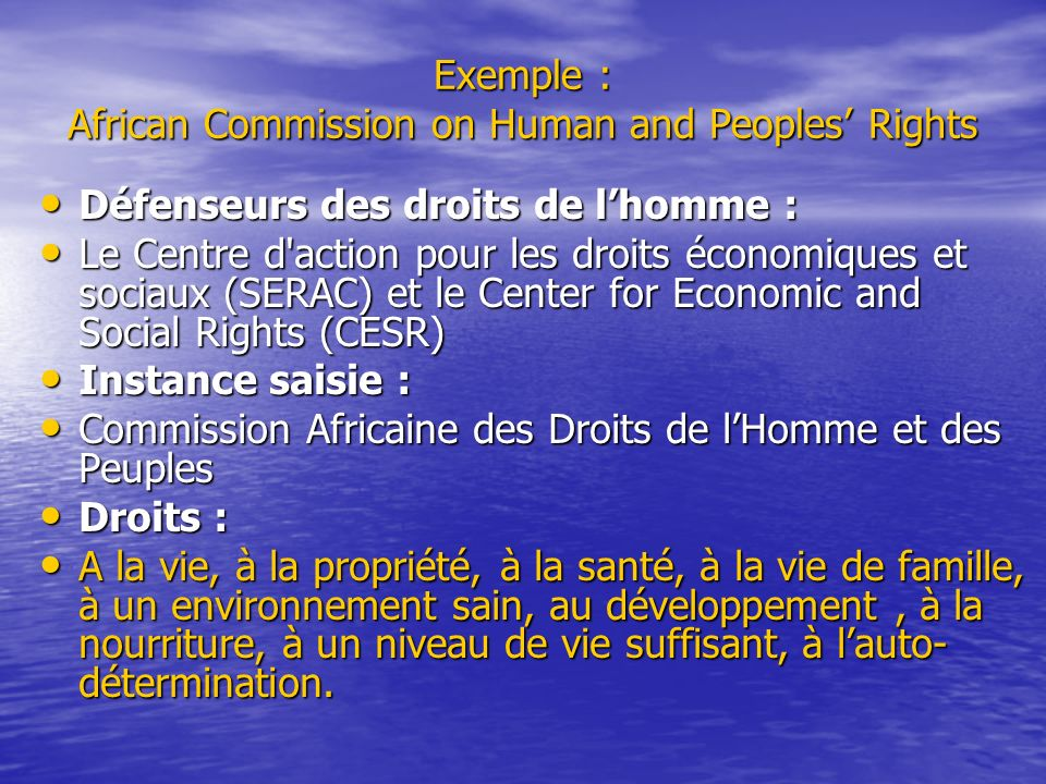 Exemple : African Commission on Human and Peoples Rights Défenseurs des droits de lhomme : Défenseurs des droits de lhomme : Le Centre d'action pour l
