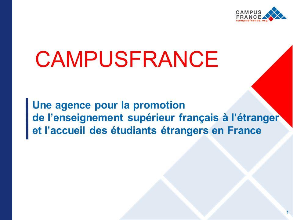 CAMPUSFRANCE Une agence pour la promotion de lenseignement supérieur français à létranger et laccueil des étudiants étrangers en France 1