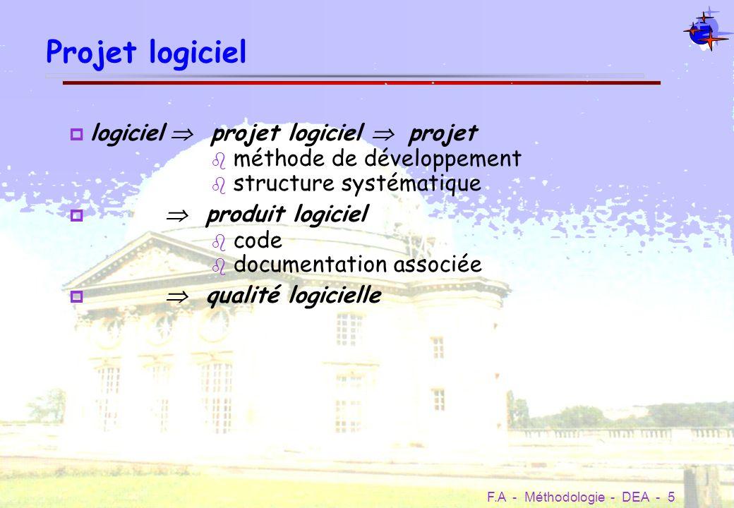 F.A - Méthodologie - DEA - 16 Les tests Les mauvaises excuses pas le temps pas les moyens techniques pas largent Coût relatif des erreurs suivant la phase