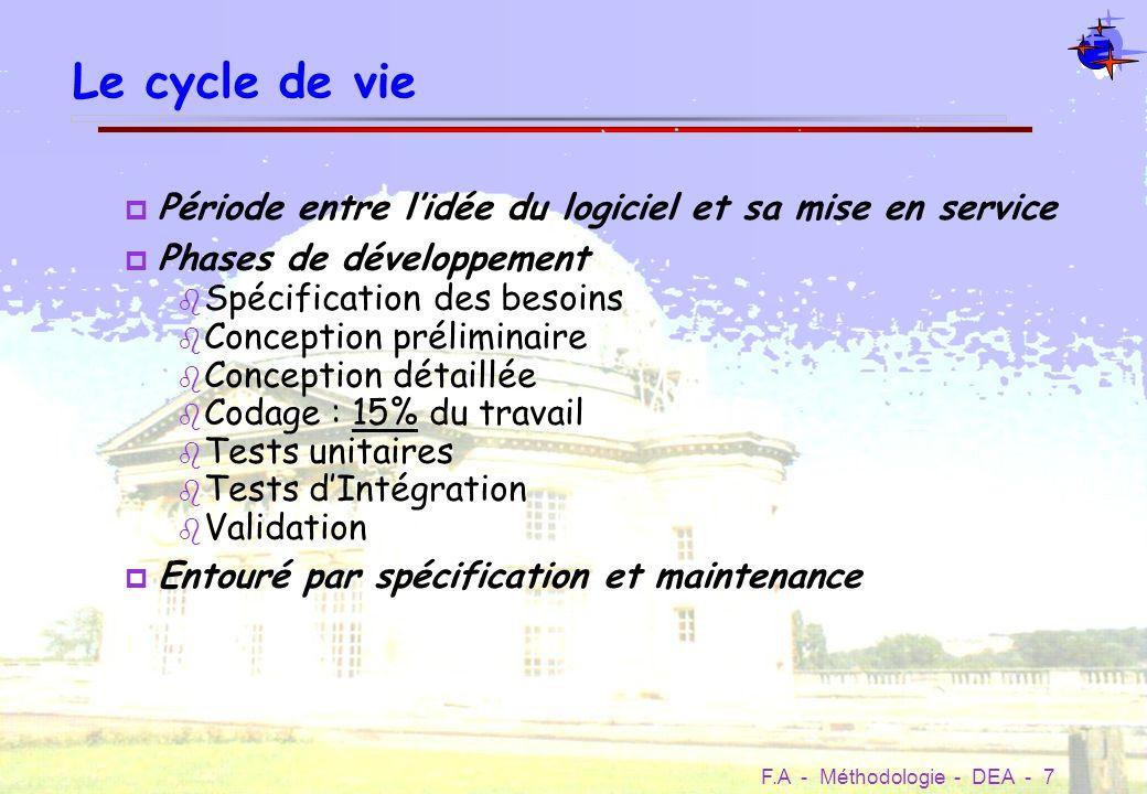 F.A - Méthodologie - DEA - 8 Cycle en V Expression des besoins Spécifications Conception générale Réalisation (codage) Tests dintégration Validation (recette) Maintenance Conception détaillée Tests unitaires