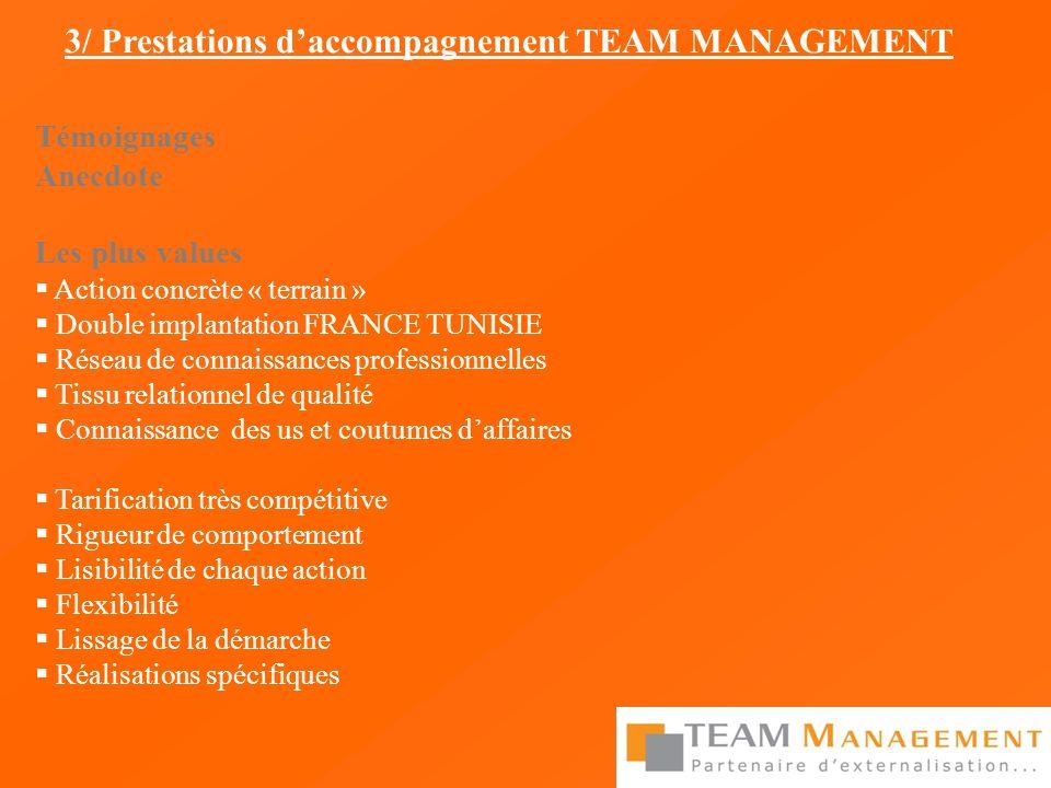 Témoignages Anecdote Les plus values Action concrète « terrain » Double implantation FRANCE TUNISIE Réseau de connaissances professionnelles Tissu rel