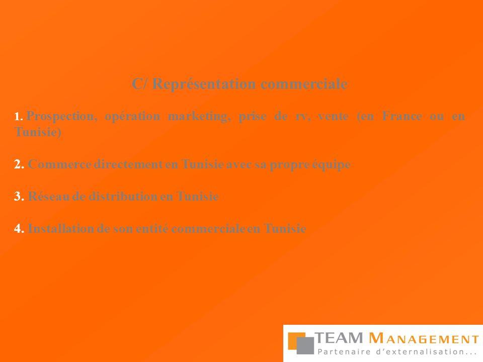C/ Représentation commerciale 1. Prospection, opération marketing, prise de rv, vente (en France ou en Tunisie) 2. Commerce directement en Tunisie ave