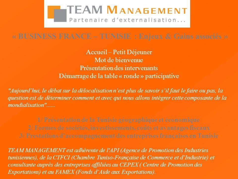 « BUSINESS FRANCE – TUNISIE : Enjeux & Gains associés » Accueil – Petit Déjeuner Mot de bienvenue Présentation des intervenants Démarrage de la table