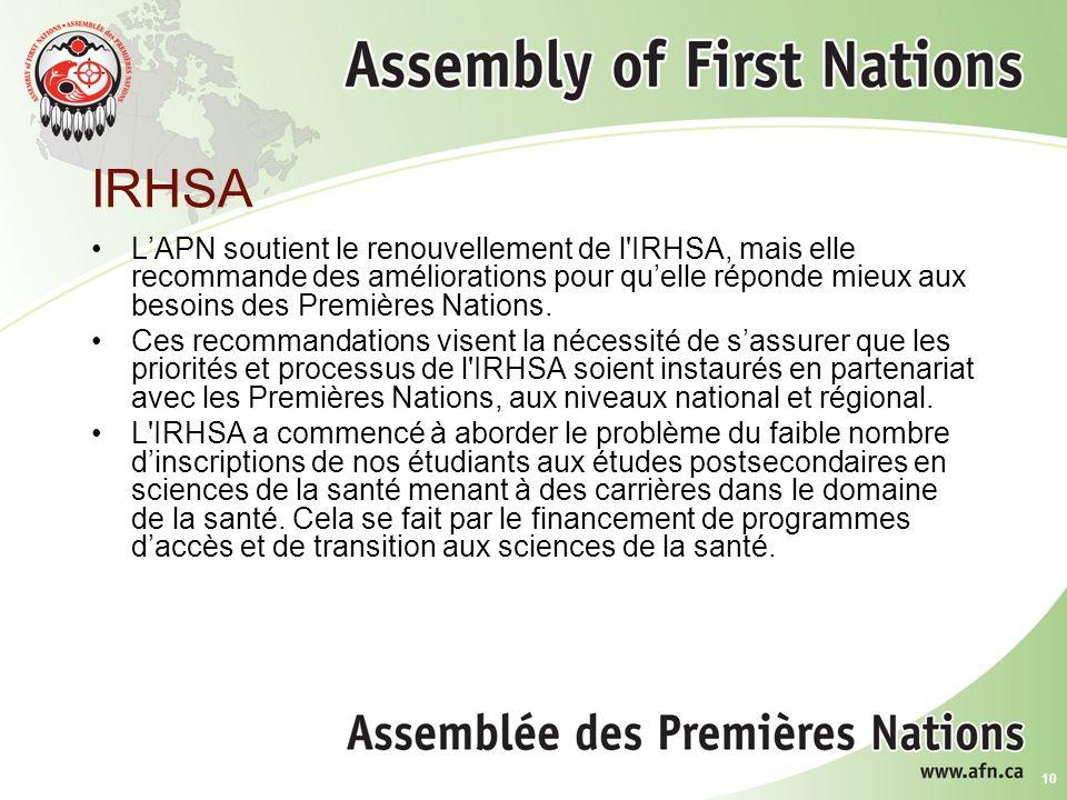10 IRHSA LAPN soutient le renouvellement de l IRHSA, mais elle recommande des améliorations pour quelle réponde mieux aux besoins des Premières Nations.