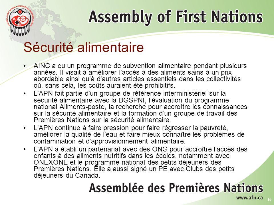 15 Sécurité alimentaire AINC a eu un programme de subvention alimentaire pendant plusieurs années.