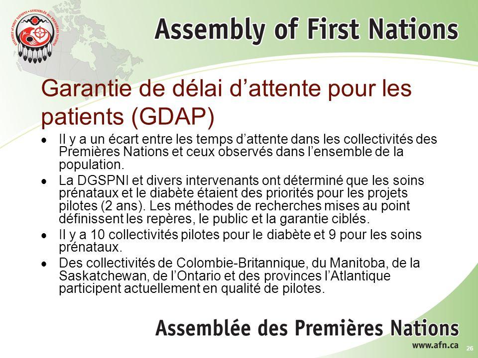 26 Garantie de délai dattente pour les patients (GDAP) Il y a un écart entre les temps dattente dans les collectivités des Premières Nations et ceux observés dans lensemble de la population.