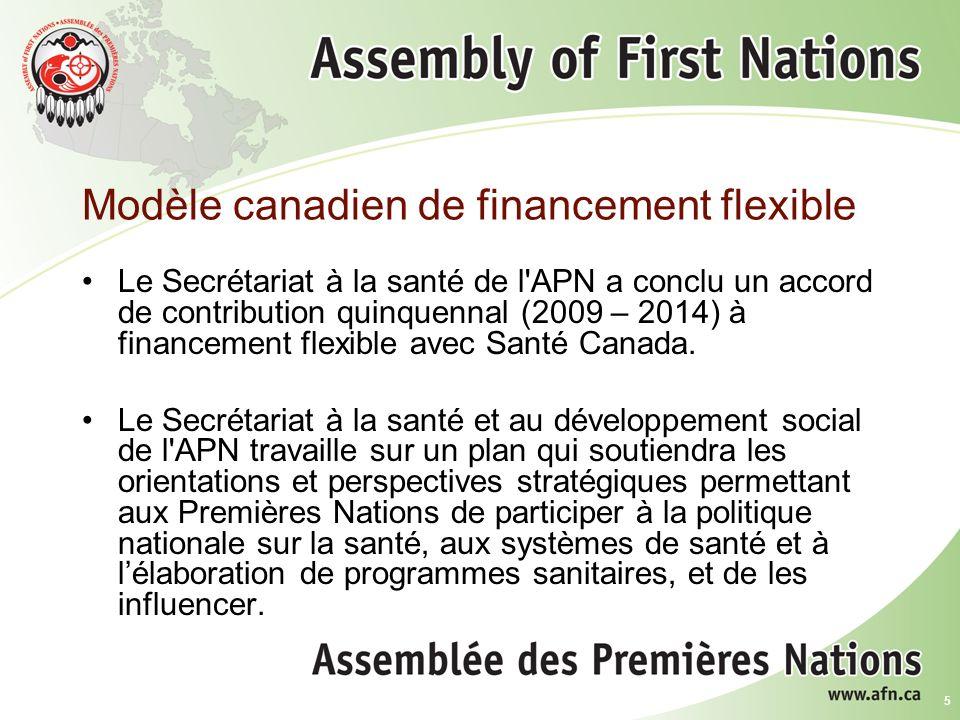 5 Modèle canadien de financement flexible Le Secrétariat à la santé de l APN a conclu un accord de contribution quinquennal (2009 – 2014) à financement flexible avec Santé Canada.