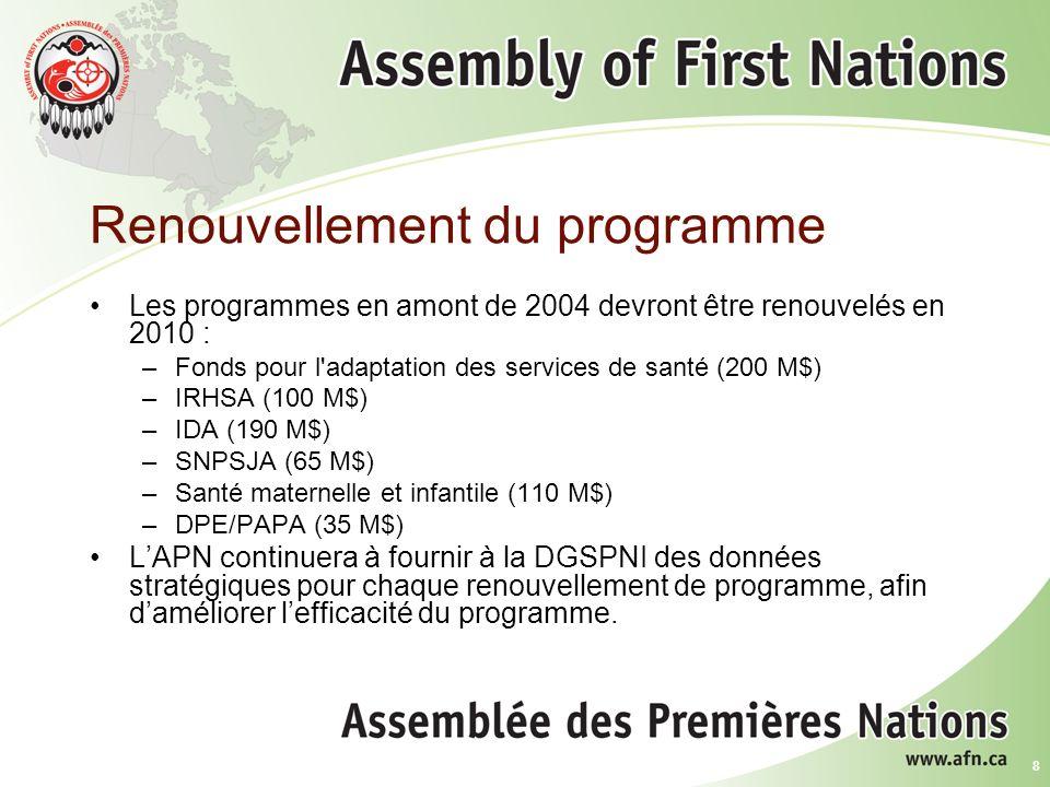 8 Renouvellement du programme Les programmes en amont de 2004 devront être renouvelés en 2010 : –Fonds pour l adaptation des services de santé (200 M$) –IRHSA (100 M$) –IDA (190 M$) –SNPSJA (65 M$) –Santé maternelle et infantile (110 M$) –DPE/PAPA (35 M$) LAPN continuera à fournir à la DGSPNI des données stratégiques pour chaque renouvellement de programme, afin daméliorer lefficacité du programme.