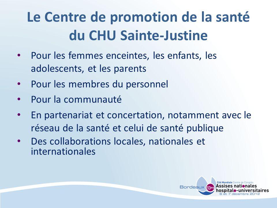 Le Centre de promotion de la santé du CHU Sainte-Justine Pour les femmes enceintes, les enfants, les adolescents, et les parents Pour les membres du p