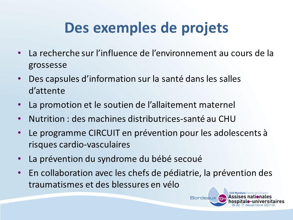 Des exemples de projets La recherche sur linfluence de lenvironnement au cours de la grossesse Des capsules dinformation sur la santé dans les salles
