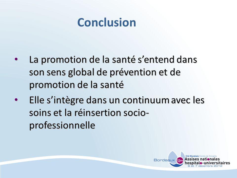 Conclusion La promotion de la santé sentend dans son sens global de prévention et de promotion de la santé La promotion de la santé sentend dans son s