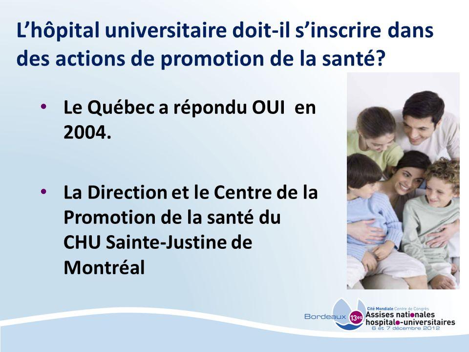Lhôpital universitaire doit-il sinscrire dans des actions de promotion de la santé? Le Québec a répondu OUI en 2004. La Direction et le Centre de la P