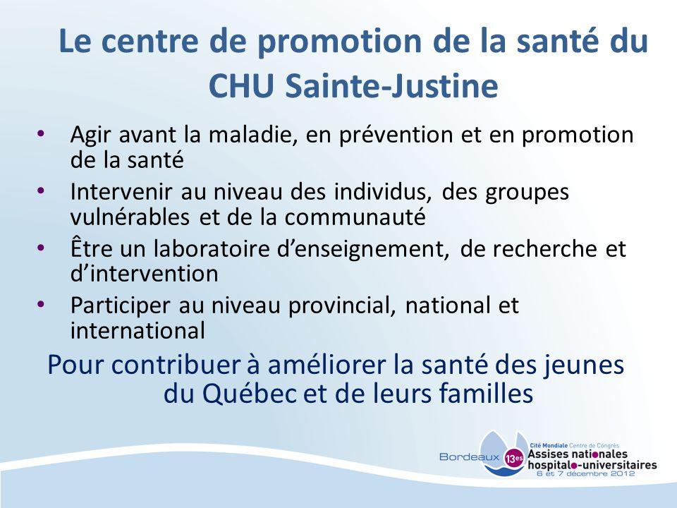 Le centre de promotion de la santé du CHU Sainte-Justine Agir avant la maladie, en prévention et en promotion de la santé Intervenir au niveau des individus, des groupes vulnérables et de la communauté Être un laboratoire denseignement, de recherche et dintervention Participer au niveau provincial, national et international Pour contribuer à améliorer la santé des jeunes du Québec et de leurs familles