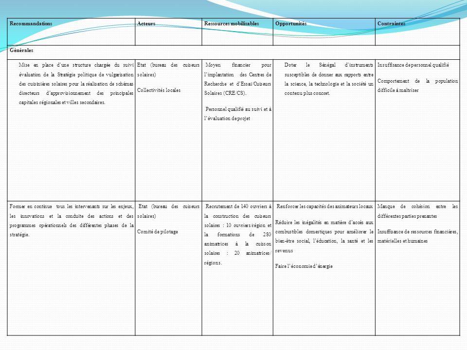 RecommandationsActeursRessources mobilisablesOpportunitésContraintes Générales Mise en place dune structure chargée du suivi évaluation de la Stratégi
