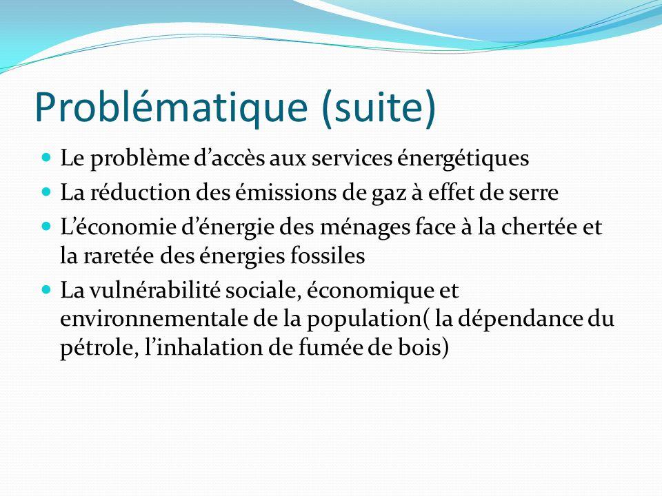 Problématique (suite) Le problème daccès aux services énergétiques La réduction des émissions de gaz à effet de serre Léconomie dénergie des ménages f