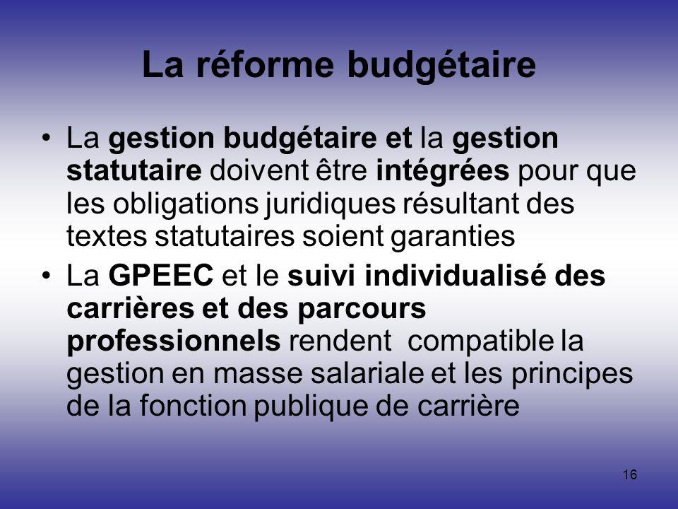 16 La réforme budgétaire La gestion budgétaire et la gestion statutaire doivent être intégrées pour que les obligations juridiques résultant des texte