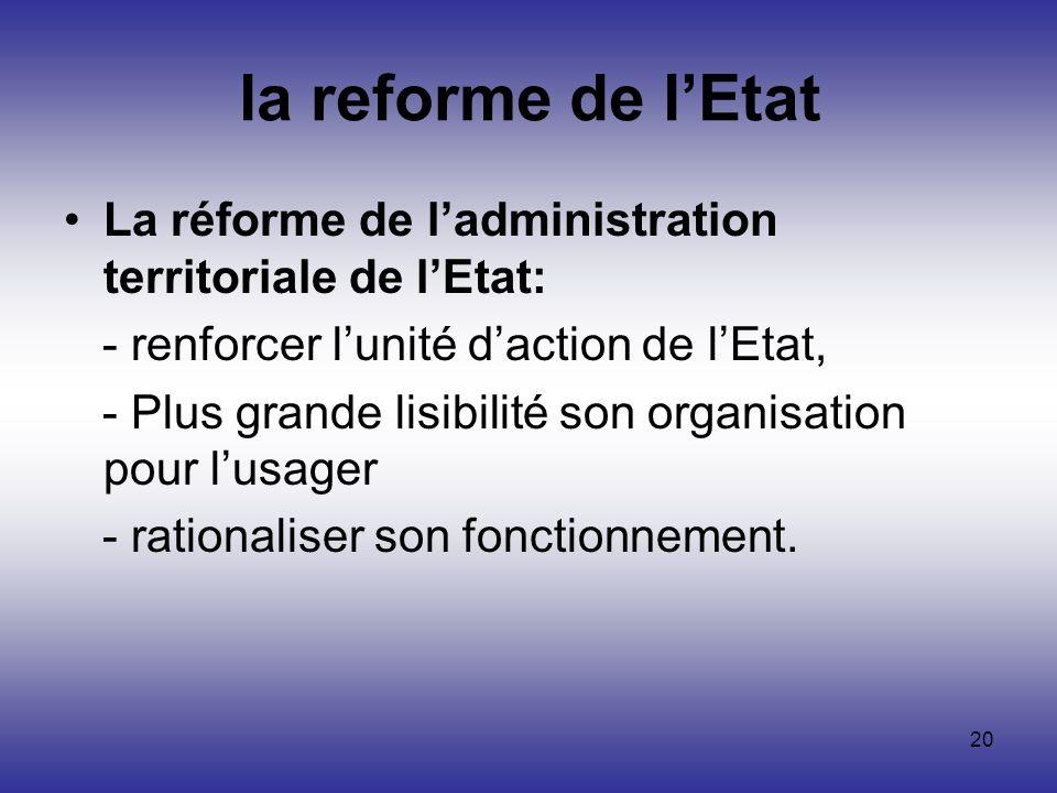 20 la reforme de lEtat La réforme de ladministration territoriale de lEtat: - renforcer lunité daction de lEtat, - Plus grande lisibilité son organisa
