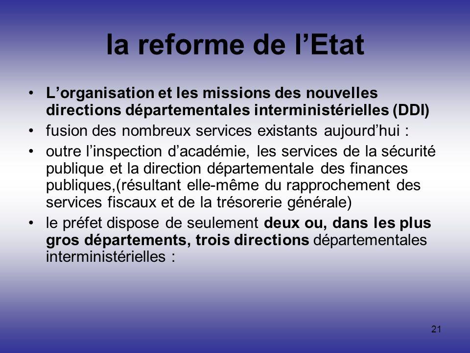 21 la reforme de lEtat Lorganisation et les missions des nouvelles directions départementales interministérielles (DDI) fusion des nombreux services e