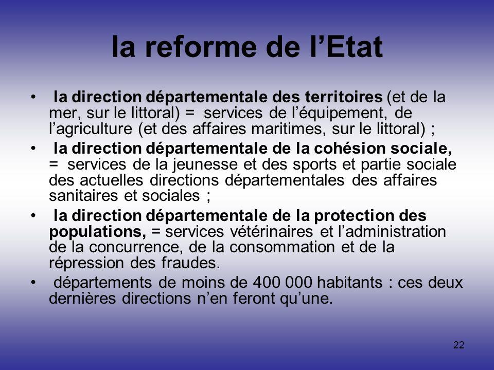 22 la reforme de lEtat la direction départementale des territoires (et de la mer, sur le littoral) = services de léquipement, de lagriculture (et des