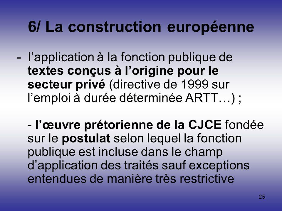 25 6/ La construction européenne - lapplication à la fonction publique de textes conçus à lorigine pour le secteur privé (directive de 1999 sur lemplo