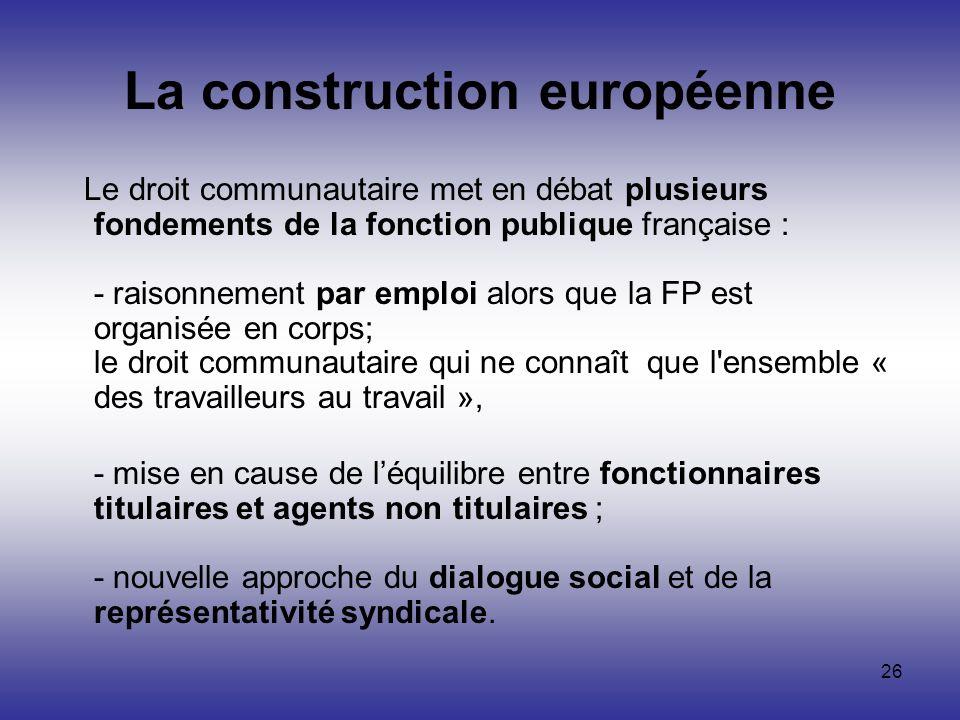 26 La construction européenne Le droit communautaire met en débat plusieurs fondements de la fonction publique française : - raisonnement par emploi a