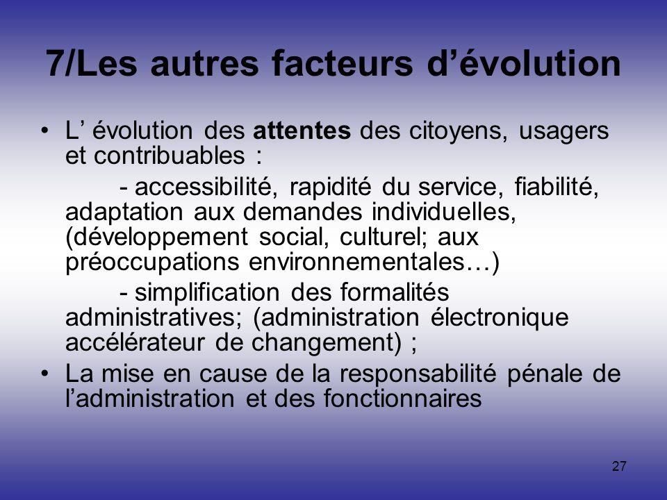 27 7/Les autres facteurs dévolution L évolution des attentes des citoyens, usagers et contribuables : - accessibilité, rapidité du service, fiabilité,