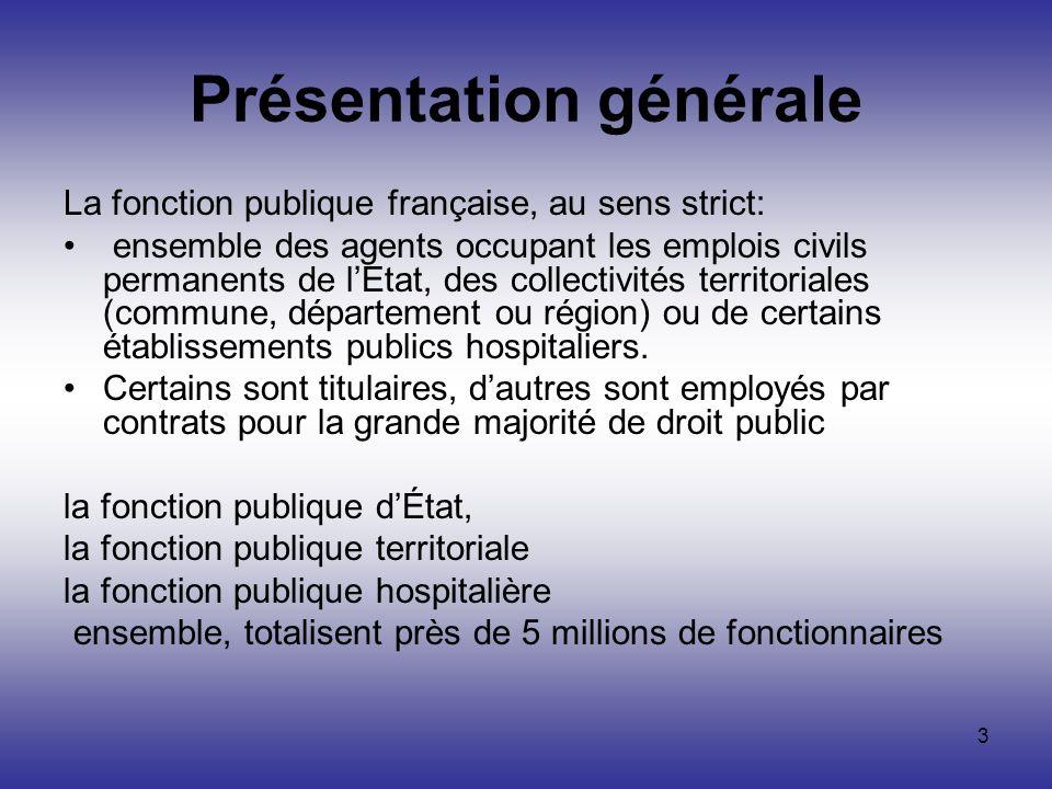3 Présentation générale La fonction publique française, au sens strict: ensemble des agents occupant les emplois civils permanents de lEtat, des colle