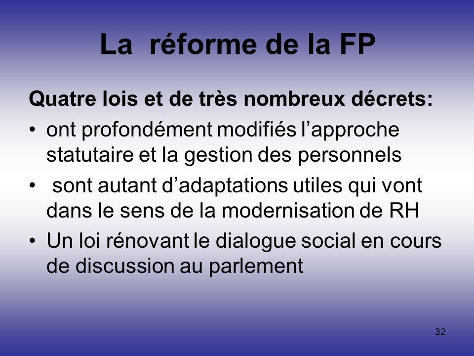 32 La réforme de la FP Quatre lois et de très nombreux décrets: ont profondément modifiés lapproche statutaire et la gestion des personnels sont autan