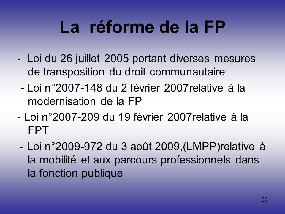 33 La réforme de la FP - Loi du 26 juillet 2005 portant diverses mesures de transposition du droit communautaire - Loi n°2007-148 du 2 février 2007rel
