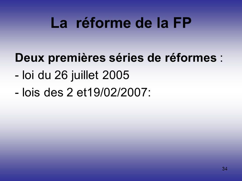 34 Deux premières séries de réformes : - loi du 26 juillet 2005 - lois des 2 et19/02/2007: La réforme de la FP