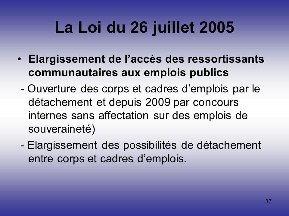 37 La Loi du 26 juillet 2005 Elargissement de laccès des ressortissants communautaires aux emplois publics - Ouverture des corps et cadres demplois pa