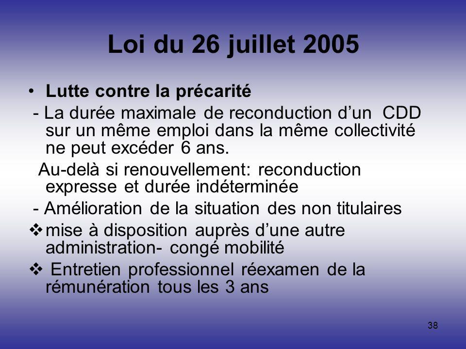 38 Loi du 26 juillet 2005 Lutte contre la précarité - La durée maximale de reconduction dun CDD sur un même emploi dans la même collectivité ne peut e