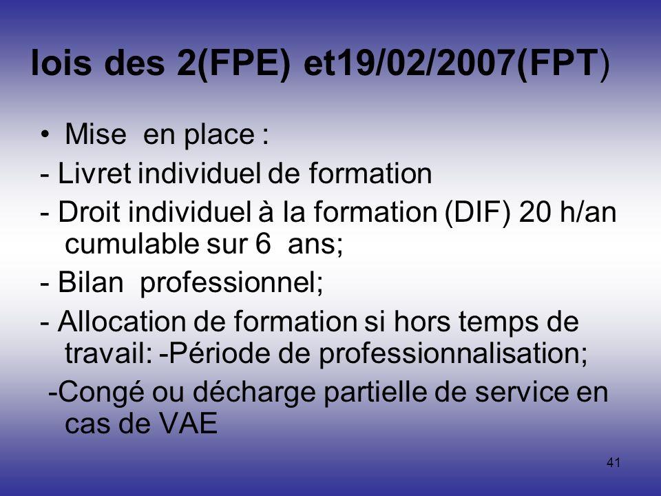 41 lois des 2(FPE) et19/02/2007(FPT) Mise en place : - Livret individuel de formation - Droit individuel à la formation (DIF) 20 h/an cumulable sur 6