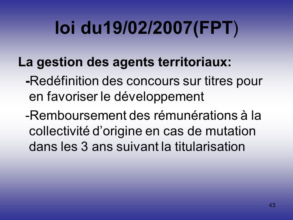 43 loi du19/02/2007(FPT) La gestion des agents territoriaux: -Redéfinition des concours sur titres pour en favoriser le développement -Remboursement d