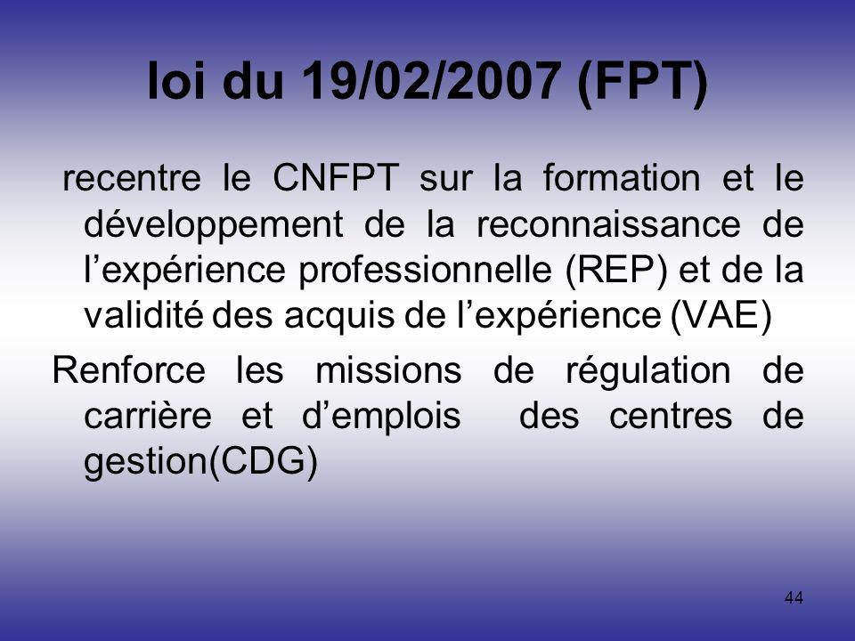44 loi du 19/02/2007 (FPT) recentre le CNFPT sur la formation et le développement de la reconnaissance de lexpérience professionnelle (REP) et de la v