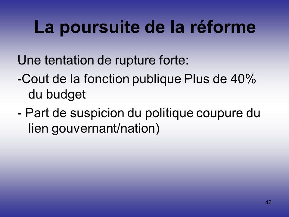 46 La poursuite de la réforme Une tentation de rupture forte: -Cout de la fonction publique Plus de 40% du budget - Part de suspicion du politique cou