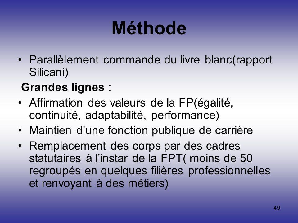 49 Méthode Parallèlement commande du livre blanc(rapport Silicani) Grandes lignes : Affirmation des valeurs de la FP(égalité, continuité, adaptabilité