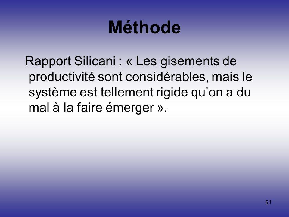 51 Méthode Rapport Silicani : « Les gisements de productivité sont considérables, mais le système est tellement rigide quon a du mal à la faire émerge